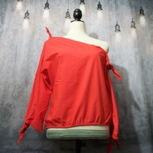 Joie Red Colissa One-Shoulder Tie Blouse Small